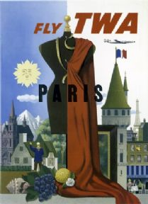 Visit Paris, France. Vintage Trans World Airlines Poster.